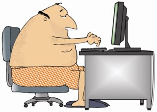 Large person at desk